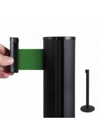 Bariéra černá, 2,7m výsuvný pásek zelený