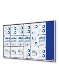 Vitrína 21xA4 SLIM, posuvné dveře, plstěná záda modrá