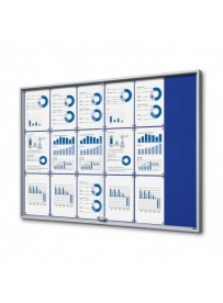 Vitrína 15xA4 SLIM, posuvné dveře, plstěná záda modrá