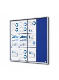 Vitrína 12xA4 SLIM, posuvné dveře, plstěná záda modrá