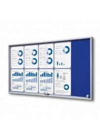 Vitrína 10xA4 SLIM, posuvné dveře, plstěná záda modrá