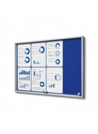 Vitrína 8xA4 SLIM, posuvné dveře, plstěná záda modrá