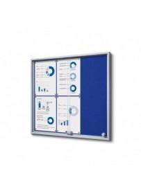 Vitrína 6xA4 SLIM, posuvné dveře, plstěná záda modrá