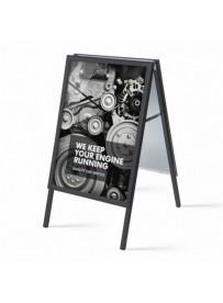 Reklamní áčko A1, ostrý roh, profil 32mm, plechová záda, černý RAL9005