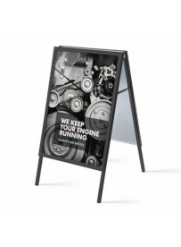 Reklamní áčko 700x1000 mm, ostrý roh, profil 32mm, plechová záda, černý RAL9005