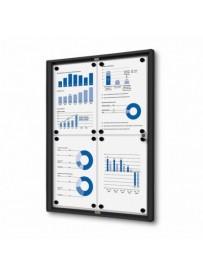 interi.vitrína Economy 4xA4-plechová záda,RAL9005