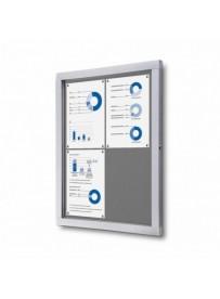 Informační vitrína 4xA4, šedá textilní záda