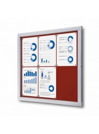 Informační vitrína 6xA4, červená textilní záda