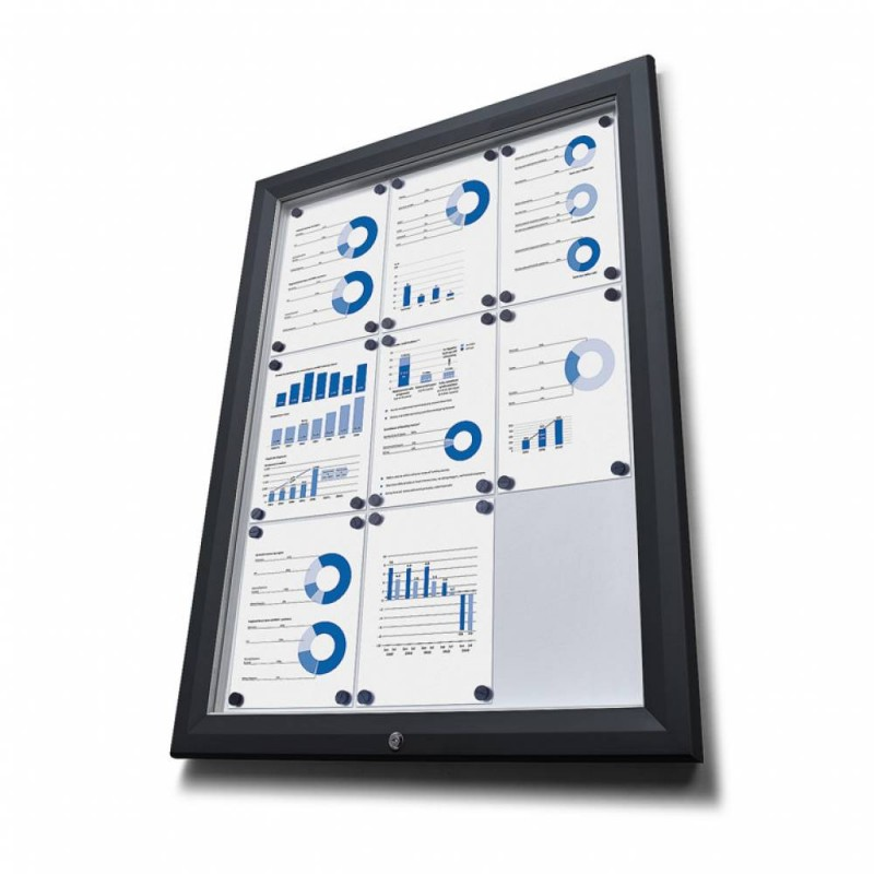 Venkovní vitrína typu T určená pro 15xA4 - barva RAL 9005 černá