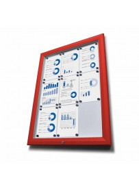 Venkovní vitrína typu T určená pro 27xA4 - barva RAL 3020 červená