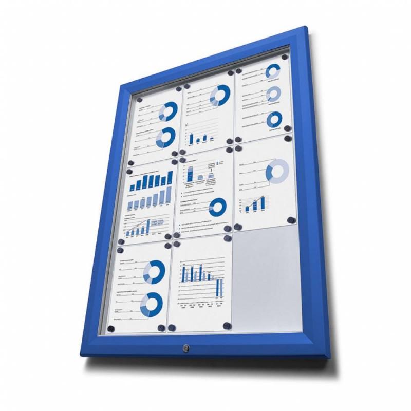 Venkovní vitrína typu T určená pro 4xA4, RAL 5010, modrá
