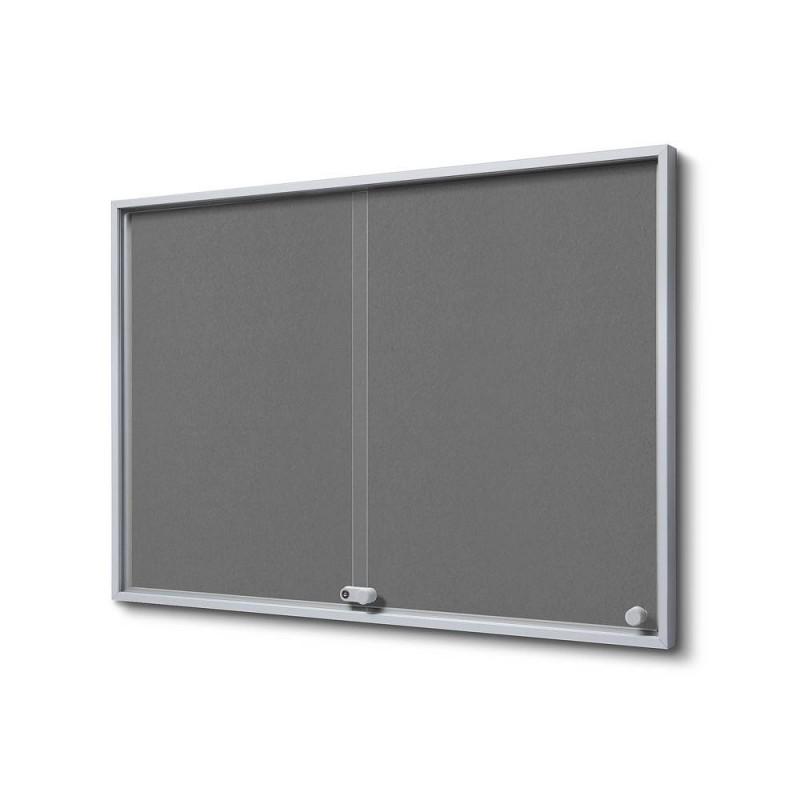 Vitrína 8xA4 SLIM, posuvné dveře, plstěná záda šedá