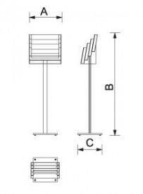 Stojan na prospekty variabilní 4xA4 / 8xA5 / 12xDL