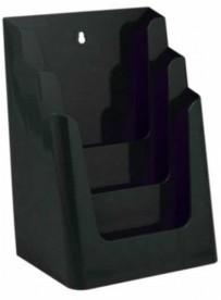 Stojánek na letáky formátu A4, 3 kapsy, černý