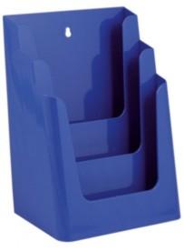Stojánek na letáky formátu A4, 3 kapsy, modrý