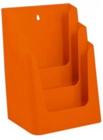 Stojánek na letáky formátu A4, 3 kapsy, oranžový
