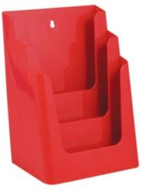 Stojánek na letáky formátu A4, 3 kapsy, červený