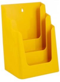 Stojánek na letáky formátu A4, 3 kapsy, žlutý