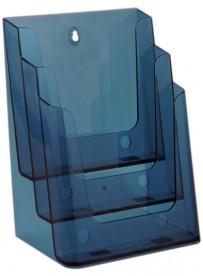 Stojánek na letáky formátu A4, 3 kapsy, neon modrý