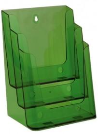 Stojánek na letáky formátu A4, 3 kapsy, neon zelený