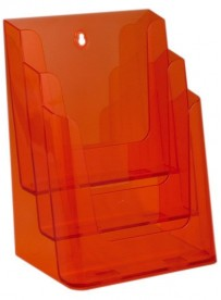 Stojánek na letáky formátu A4, 3 kapsy, neon oranžový