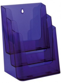 Stojánek na letáky formátu A4, 3 kapsy, neon fialový