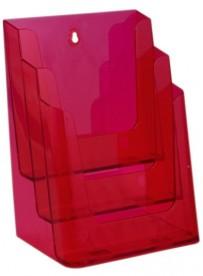 Stojánek na letáky formátu A4, 3 kapsy, neon červený