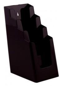 Stojánek na letáky pro formát DL (1/3A4), 4 kapsy za sebou, černý