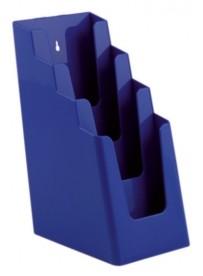Stojánek na letáky pro formát DL (1/3A4), 4 kapsy za sebou, modrý