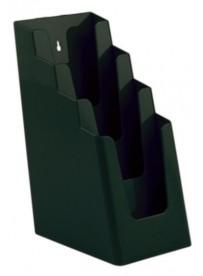 Stojánek na letáky pro formát DL (1/3A4), 4 kapsy za sebou, zelený