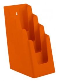 Stojánek na letáky pro formát DL (1/3A4), 4 kapsy za sebou, oranžový