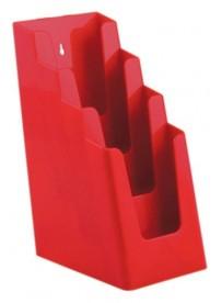 Stojánek na letáky pro formát DL (1/3A4), 4 kapsy za sebou, červený
