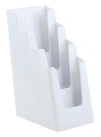 Stojánek na letáky pro formát DL (1/3A4), 4 kapsy za sebou, bílý