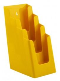 Stojánek na letáky pro formát DL (1/3A4), 4 kapsy za sebou, žlutý