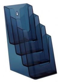 Stojánek na letáky pro formát DL (1/3A4), 4 kapsy za sebou, neon modrý