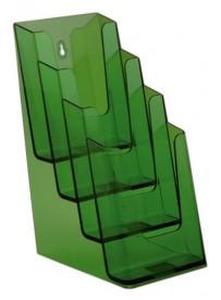 Stojánek na letáky pro formát DL (1/3A4), 4 kapsy za sebou, neon zelený