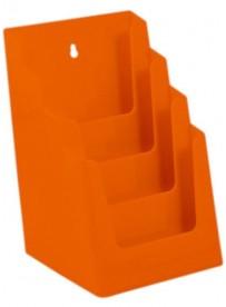 Stojánek na letáky formátu A5, 4 kapsy, oranžový