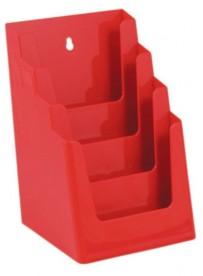 Stojánek na letáky formátu A5, 4 kapsy, červený