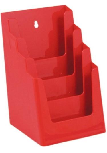 Jansen Display Stojánek na letáky formátu A5, 4 kapsy, červený