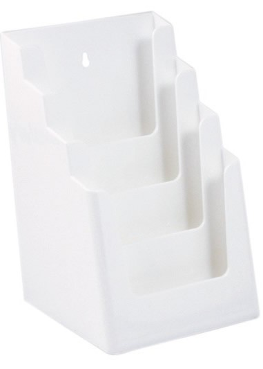 Jansen Display Stojánek na letáky formátu A5, 4 kapsy, bílý