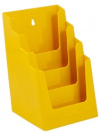 Stojánek na letáky formátu A5, 4 kapsy, žlutý