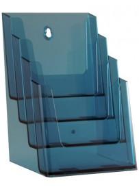 Stojánek na letáky formátu A5, 4 kapsy, neon modrý
