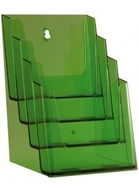 Stojánek na letáky formátu A5, 4 kapsy, neon zelený