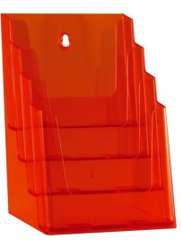 Stojánek na letáky formátu A5, 4 kapsy, neon oranžový