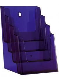 Stojánek na letáky formátu A5, 4 kapsy, neon fialový