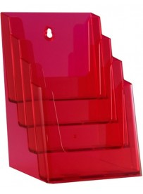 Stojánek na letáky formátu A5, 4 kapsy, neon červený