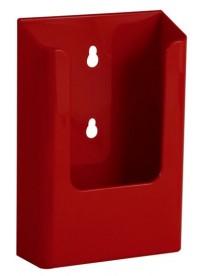Nástěnný zásobník na letáky formátu DL (1/3A4), červený