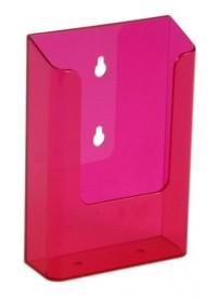 Nástěnný zásobník na letáky formátu DL (1/3A4), neon červený