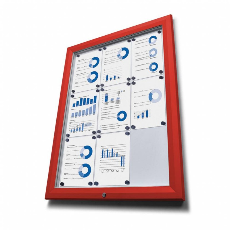 Venkovní vitrína typu T určená pro 4xA4, RAL3020, červená